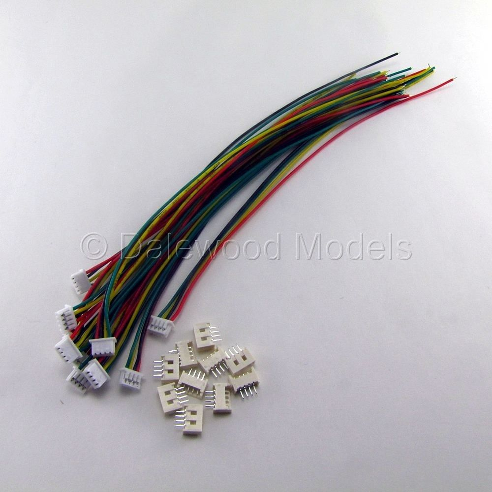 JST 1.25MM 4 Pin Male & Female Connector Plug Wires 15cm Cables X 10 ...